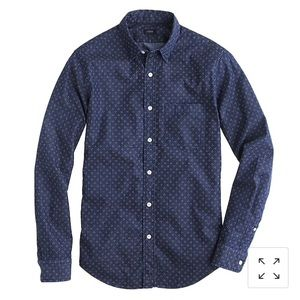 J. Crew M Blue Denim Shirt Triple Dot Men's